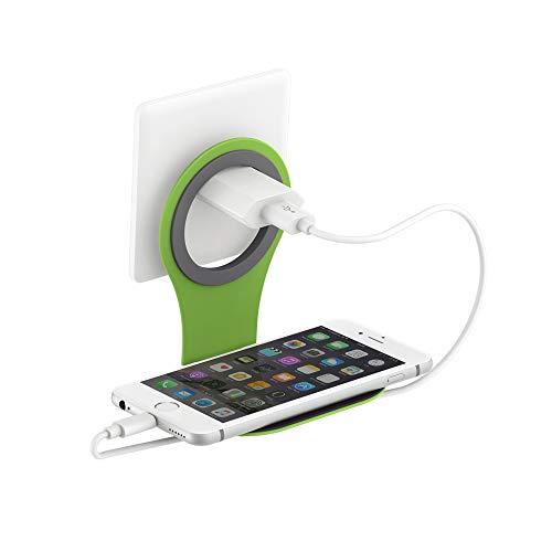 Xlayer Colour Line Steckdosenhalterung für Smartphone, Handy Halterung für alle gängigen Ladekabel, Grün