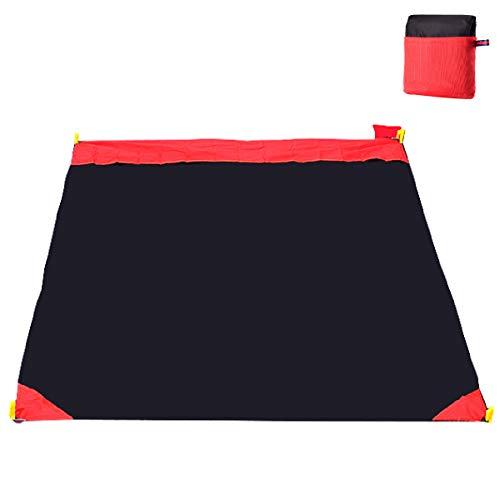 Azarxis wasserdichte Zeltunterlage, Tarp Ultraleicht, Stranddecke Picknickdecke für Reisen Picknick Camping Wandern (Schwarz - 150 × 180 cm)
