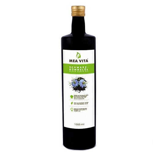 Huile de cumin noir MeaVita, 100% pure et pressée à froid, 1 paquet (1 x 1000 ml)