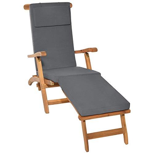 Beautissu Auflage für Deckchair LoftLux DC 175x45x5cm Luxus Polsterauflage für Gartenliege Auflage Liegestuhl Polster - Bezug Abnehmbar – Gartenmöbel Kissen Graphitgrau