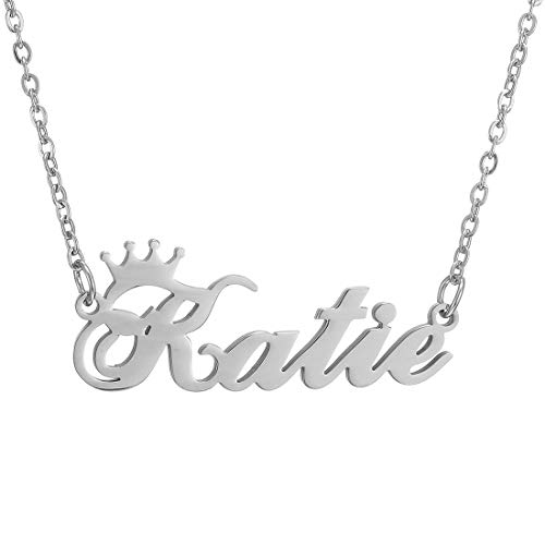 Personalized Name Crown Necklace,Customized Script Initial Women Girl Nameplate Charm Crown Necklace Stainless Steel Pendant Necklace Chain Jewelry Gift for Boy Katie-Silver