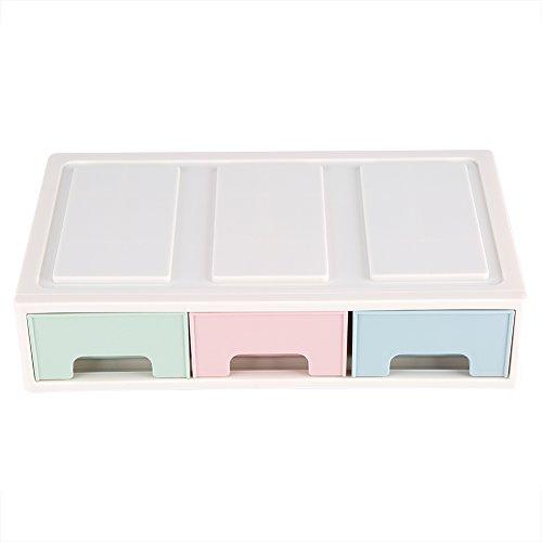 Fdit - Organizador de cajón de escritorio con artículos de oficina y cosméticos, color rosa + verde + azul