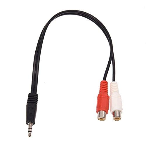 WOVELOT 3.5mm Adaptador Estereo Jack de Auriculares a 2 RCA Jack Adaptador Cable de Audio, 3,5 mm Macho a 2X RCA Hembra