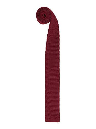 Hombres Corbata de Punto Terminada en Corte Recto Corbata Tricot con un Ancho de 5.7cm Narrow Tie - Liso Burdeos