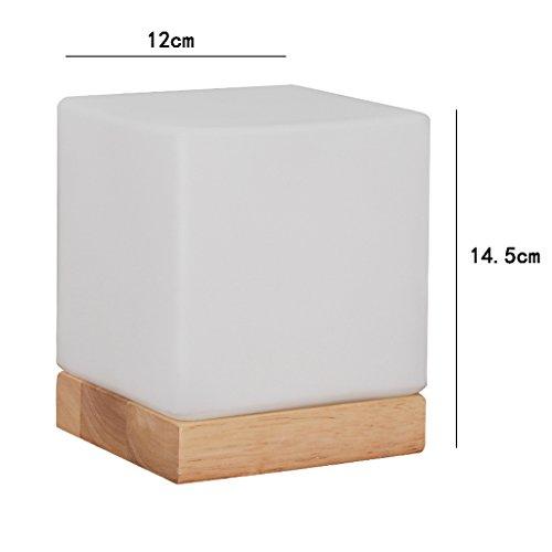Yxsd nachtlampje, minimalistisch nachtlampje, wit, E27 bureaulamp met houten nachtkastje, glazen scherm, slaapkamer, woonkamer