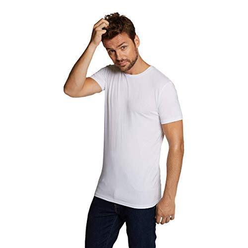 Bamboo Basics - Heren Extra Lang T-shirt (2-pack) - Zwart - Wit - Ruben - Ronde Hals - Thermo - Perfect Fit, Zijdezacht en Hypoallergeen