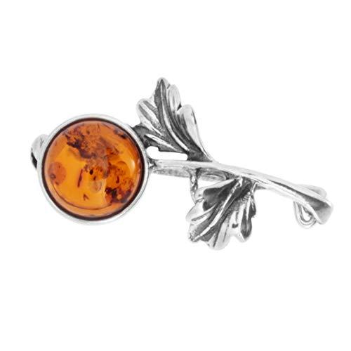 Brosche Blume Silber 925/000 Bernstein