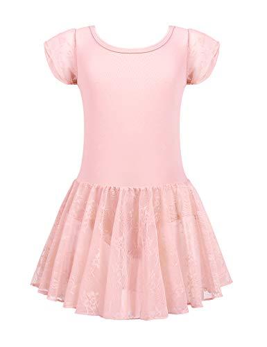 Kinder Ballettkleid Ballettkleidung Mädchen Kurzarm Tanzkleid Ballettanzug Balletttrikot Tanzbody mit Rock, Rosa, 160