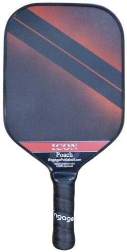 Engage Poach Icon Pickleball Paddle | USAPA Approved | Textured FiberTEK Fiberglass Face & ControlPRO Polymer Core | Standard Weight