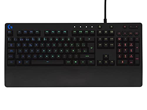Logitech G213 Prodigy Teclado Gaming, RGB LIGHTSYNC, Teclas retroiluminadas, Resistente a Salpicaduras, Teclas personalizables, Controles Multimedia Dedicados, Disposición QWERTY ES - Negro