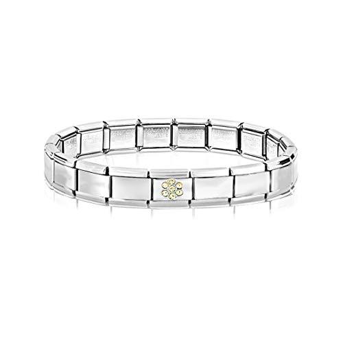 AKKi jewelry Italian Charms Armband mit Blume Links Glieder Set Kult modele für Frauen Italy Charm - Edelstahl Schmuck Silber Modern Blümschen