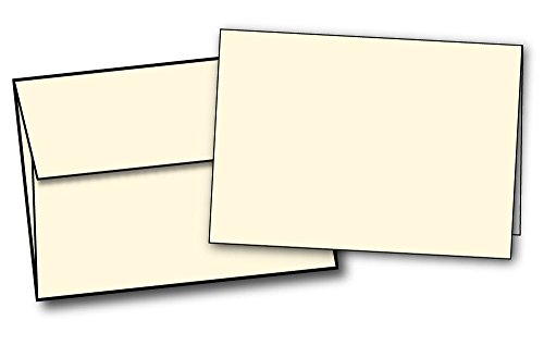 Heavyweight Cream/Natural (Off-White) Half Fold Greeting Cards & Envelopes - 40 Greeting Card Sets - Cards Fold to 5 1/2