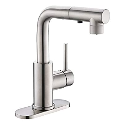 Bar & Prep Sink Faucet with Magnetic Docking Sprayer, Pull Out Bathroom Faucet in Brush Nickel, Wet & Mini Bar Faucet