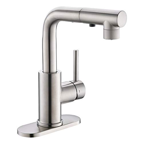 Crea Kitchen Faucets with Pull Out Sprayer, Bathroom Sink Faucets Mini Bar Prep Faucet with Magnetic Docking Single Handle 3 Hole Kitchen Farmhouse utility Faucet Outdoor Laundry, Brush Nickel
