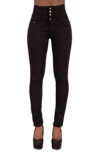 Glook Pantalon Femme Denim Jeans Slim Taille Haute Jean Stretch Pant (40, Noir)