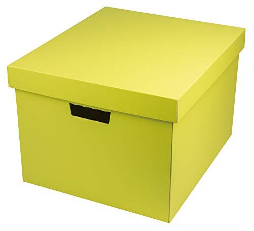 ヤマニパッケージ 収納BOX(L)(5枚入り) A4サイズ 【イエロー】 フタ付き 段ボール オフィス 収納