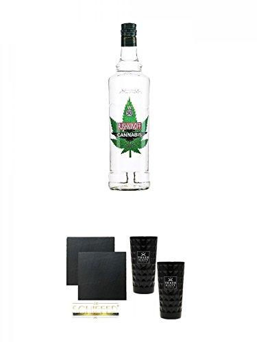 Rushkinoff - CANNABIS VODKA 50% - von Antonio Nadal 1,0 Liter + Schiefer Glasuntersetzer eckig ca. 9,5 cm Ø 2 Stück + Three Sixty black Vodka Glas 2 Stück (black)