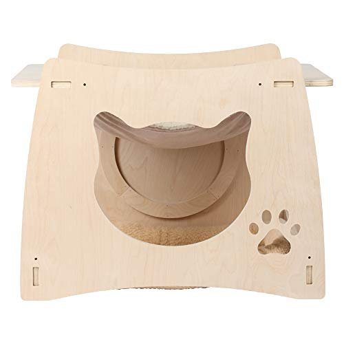 Cat Tree House, houten comfortabele Pet Cat Activity klimrek Krabpaal pluche bed Tree House hangmat speelgoed