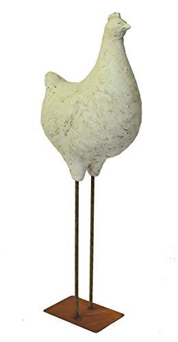 Outdoor buitendecoratie tuinfiguur - figuur - tuindecoratie - kip wit - van hoogwaardig polyhars - weer- en UV-bestendig - hoogte ca. 60 cm.