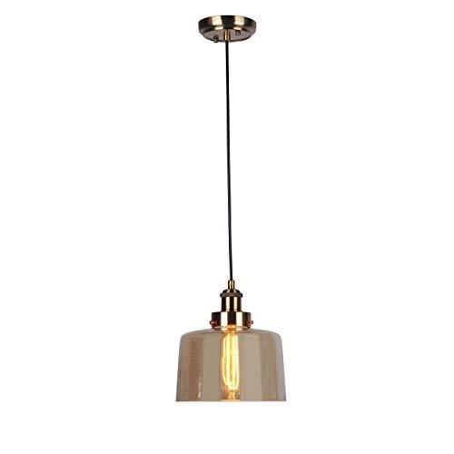 DekoArte Pendant - Lámparas De Techo Colgantes Decorativa Modernas E-27 | Metal color Cuero, Cristal Tulipa Ambar | Ideal para Salones, Cafeterias, Restaurantes | Clase de Eficiencia Energética A+