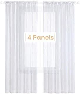 Best Anjee 4 Panels White Sheer Curtains 45 Inches Long Rod Pocket Window Treatment Sheer Voile Gauze Drapes for Bedroom Kitchen Christmas Decor 52 x 45 Inch Review