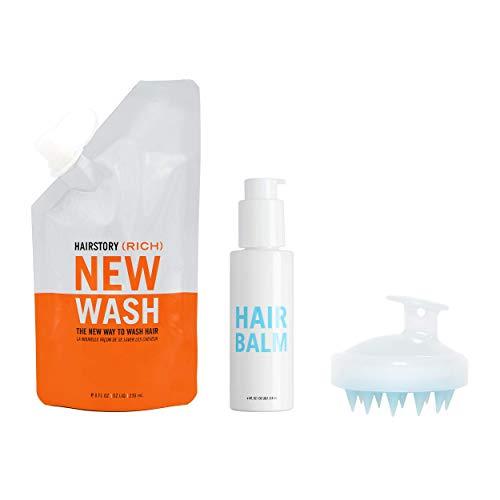 KIT New Wash (RICH): Limpiador capilar 8 oz (236,5 ml aproximadamente) + bálsamo capilar Hair Balm 4 oz (118 ml aproximadamente) + cepillo para limpieza y acondicionamiento del cuero cabelludo.