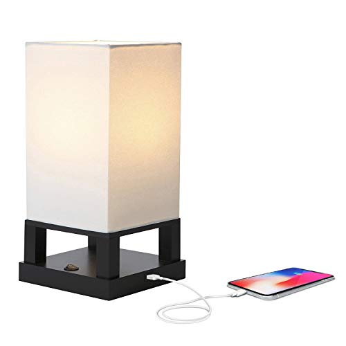 brightech desk lamps Brightech Maxwell - Bedroom Nightstand Lamp with USB Ports – Modern Asian Table Lamp w/ Wood Frame - Soft Light Perfect for Bedside - with LED Bulb - Black