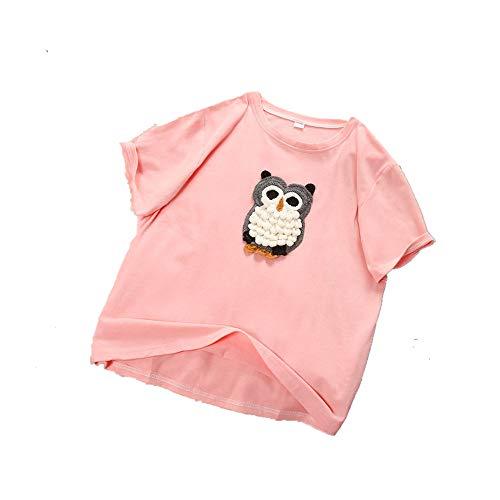 NOBRAND - Camiseta de manga corta para mujer, diseño de búho con bordado tridimensional, para verano
