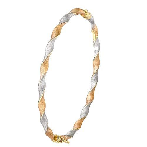Lucardi - 375 Gold, dreifarbiger, gedrehter Armreif - für Damen - Dreifarbig