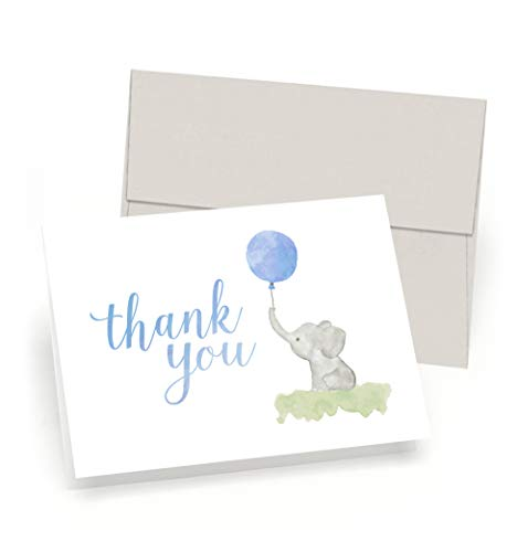 Baby Shower Thank You Cards (Set of 10 Cards + Envelopes) - Watercolor Elephant & Balloon - by Palmer Street Press (Blue)