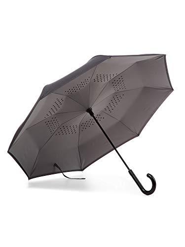 totes InBrella Reverse Close Umbrella, Black/Grey