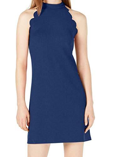 BCX Junior Womens Crepe Scalloped Hem Mini Dress Cobalt Blue Size Medium