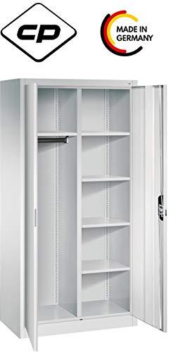 bümö CP Garderobenschrank mit Aktenablage 195x93x50 cm in Lichtgrau RAL 7035 - Kleiderschrank Stahlschrank Putzmittelschrank