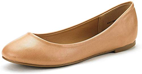DREAM PAIRS Women's Sole-Simple Nude Pu Ballerina Walking Flats Shoes - 9.5 M US