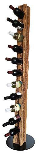 Wood & Wishes – Rustikaler Weinständer, Weinregal, Weinhalter aus Eiche Massivholz; gefertigt in dt. Handarbeit für 11 Flaschen Wein; Höhe 158 Ø 34 cm; Landhausstil; Treibholzoptik; dekoratives Unikat