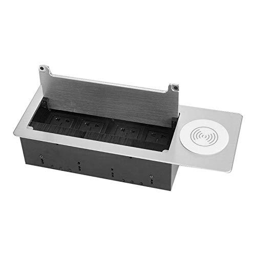Gazechimp Aluminiumlegierung Konferenz Einbau Desktop Steckdosenplatte Wechselstrom USB 3,5 Mm Buchse EU FR US UK Steckdosen - Silber