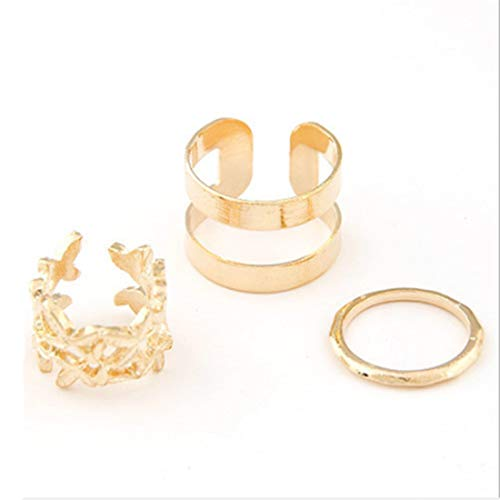 VWH Boho Ring Set Vintage Leaves Joint Knuckle Rings (Gold)