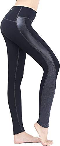 MVNZXL La Yoga de la Cintura Alta de Las Mujeres jadea, Mallas Corrientes del Entrenamiento de los Pantalones de los Deportes de Las Medias con el Bolsillo(Color:Black,Size:X-Large)