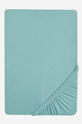 biberna 0077640 Lenzuolo Boxspring Jersey-Elastic (altezza materasso 25-40 cm) 1x 90x190 cm  100x220 cm, aqua
