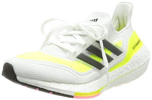 adidas Damen Ultraboost 21 Running Shoe, Cloud White/Core Black/Solar Yellow, 38 2/3 EU