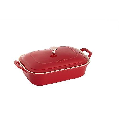 STAUB Ceramics Rectangular Covered Baking Dish, 12x8-inch, Cherry