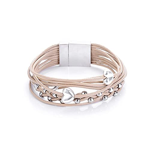 New Trendy Heart Charm Alloy CCB Beads Multilayer Multicolor Geniune Leather Cord Magnetic Clasp Bracelets Bangles Women and Men - ( Metal Color: Khaki )