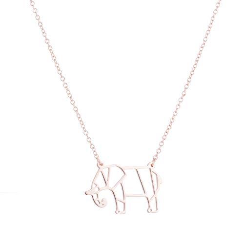 GYXYZB Origami Olifant item schattige ketting schattig en onhandige olifant dier ketting