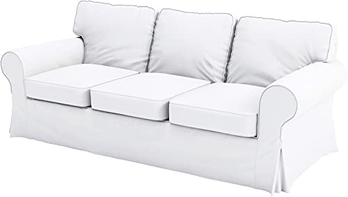 The Heavy Cotton Ektorp Sofa Cover Replacement is Made Compatible for IKEA Ektorp Three 3 Seat Sofa Cover (White Sofa)