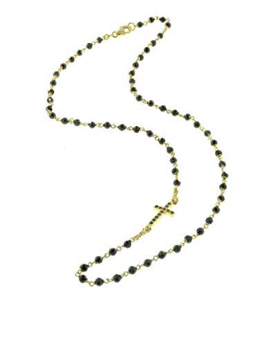 IDONI - Collana Rosario girocollo dorata in argento e pietre Onice nero