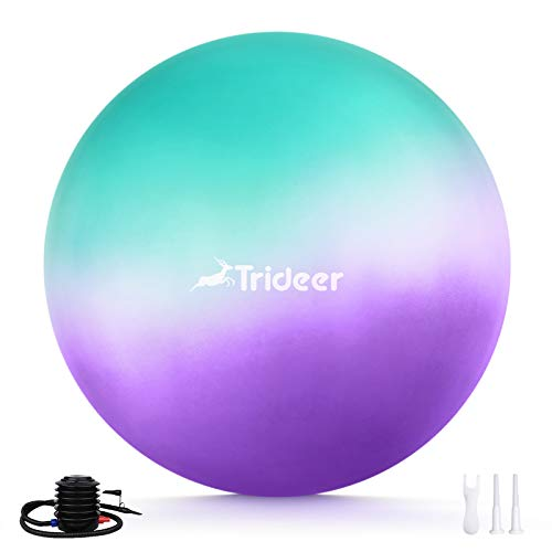 Trideer Newest Exercise Ball, Yoga Ball for Home Gym & Desk Chair - Fitness, Yoga & Physical Therapy, with Quick Pump [ Sweet Series, 55cm & 65 cm ] (ice Cream, 65cm)