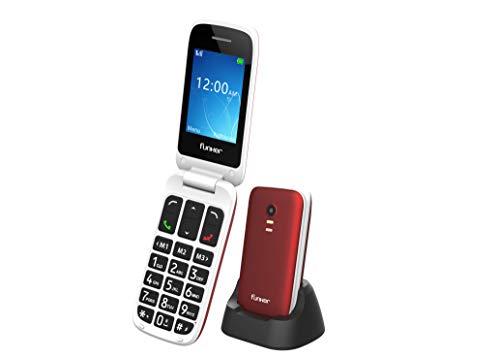 Funker E70 Easy Elite - Teléfono Móvil con Tapa, Fácil de Usar para Personas Mayores con Botón SOS y Base Cargadora, Cámara de Fotos y Agenda con Fotocontactos (Rojo)