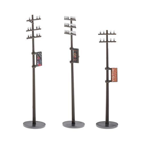 sharprepublic Juego de 3 Piezas 1/87 Mini línea eléctrica Postes Miniatura teléfono...