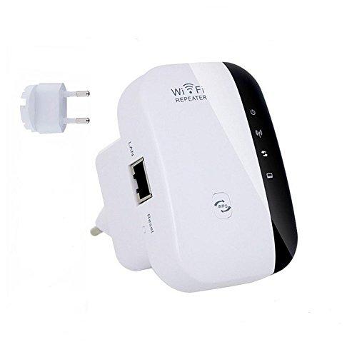Yunchenghe WiFi Range Extender amplificador amplificador de señal de repetidor inalámbrico 300Mbps Wireless Mini punto de acceso AP 2.4GHz banda de red con Gigabit Port High Gain Antenna (EU Plug)