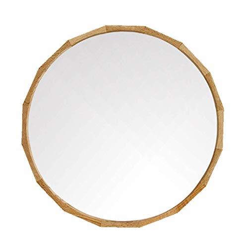 KFDQ Wand-Kosmetikspiegel, Kosmetikspiegel Wand-Schminkspiegel mit Eichenholzrahmen für Wohnzimmer Badezimmer Rasierspiegel Wandbehang Dekorativer Spiegel,Holz Farbe,50cm (19.7